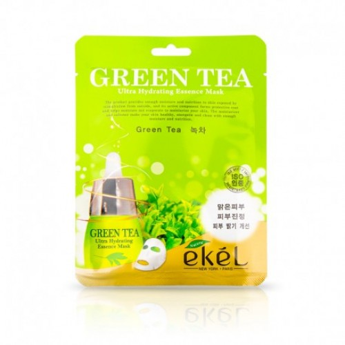 EKEL Ultra Hydrating Essence Mask Green Tea - MITRINOŠA, TONIZĒJOŠA AUDUMA MASKA AR ZAĻO TĒJU 25ml