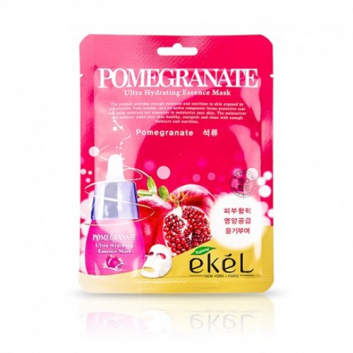 EKEL Pomegranate Ultra Hydrating Essence Mask Auduma liftinga maska pret grumbām ar granātābola ekstraktu