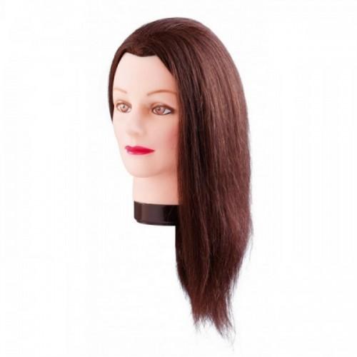 Manekena galva/manekens Emma, brown - ar naturāliem matiem 40cm